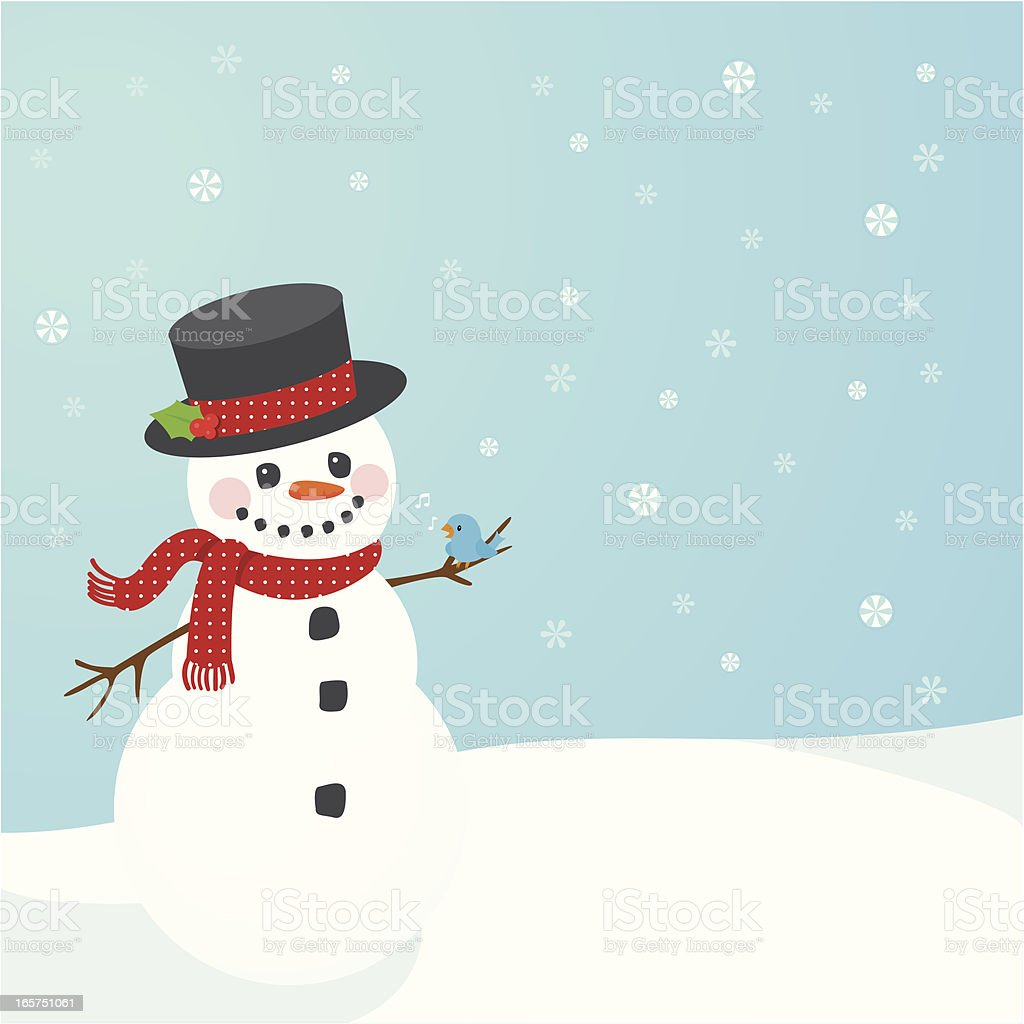 Illustration of snowman on blue background with snowflakes royalty-free stock vector art