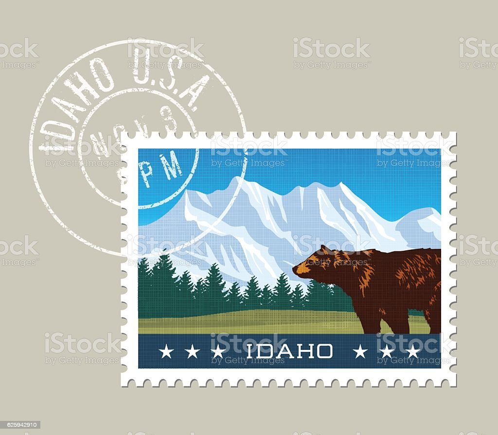 Illustration of snowy mountains and grizzly bear. Idaho, united states. vector art illustration