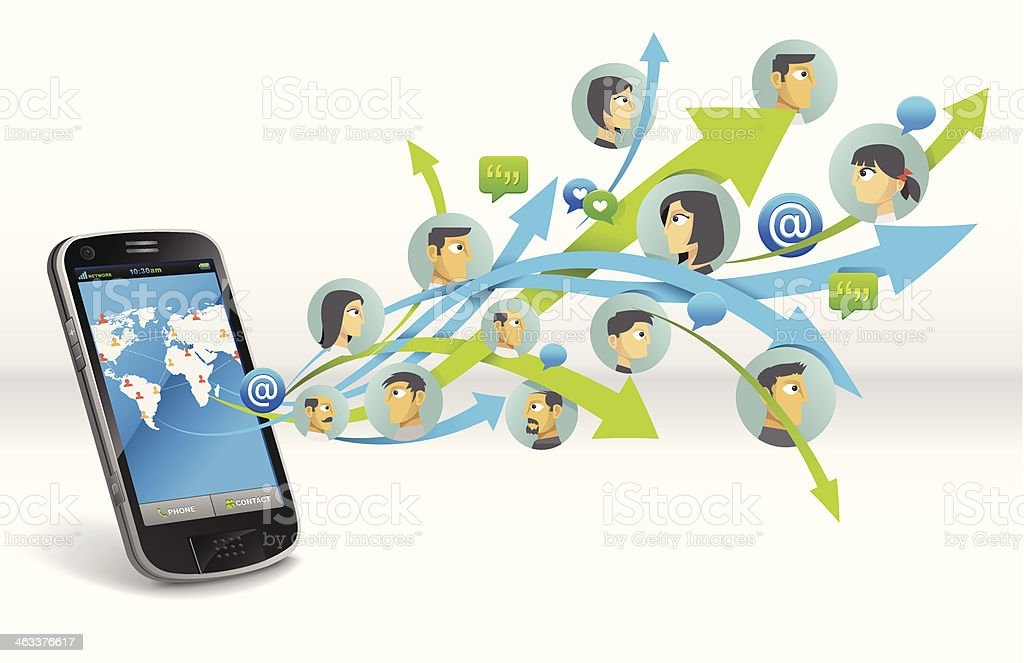 Illustration of social networking with cell phone royalty-free stock vector art