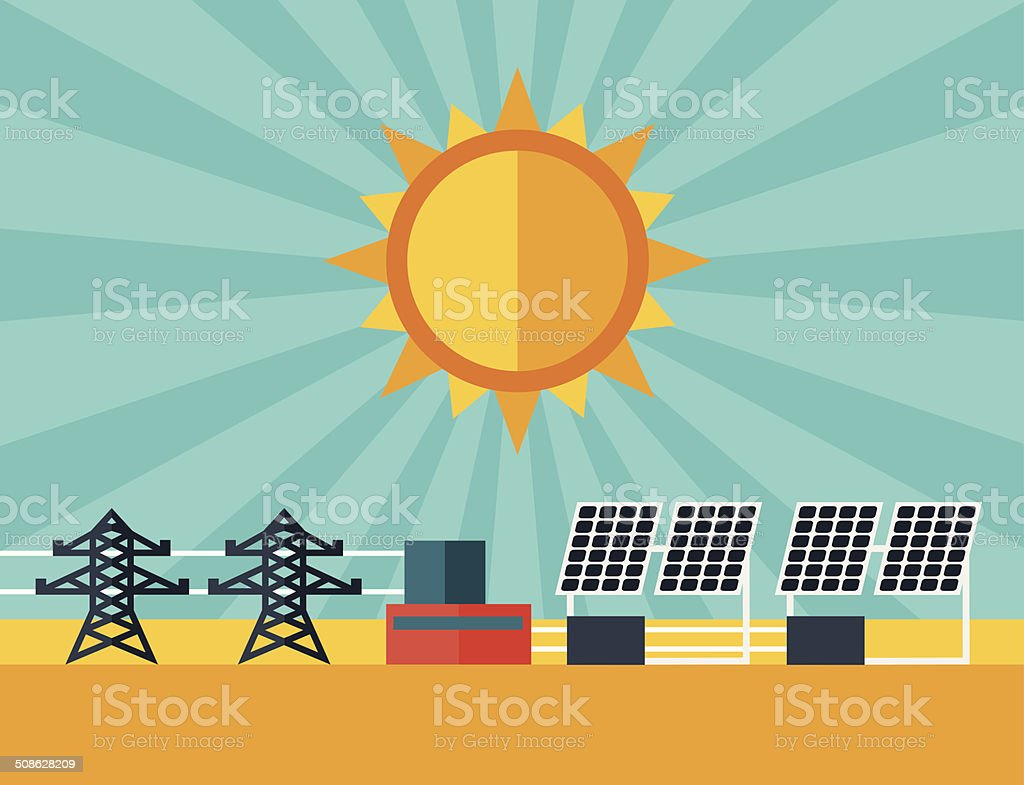 Illustration of solar energy power plant in flat style. royalty-free stock vector art