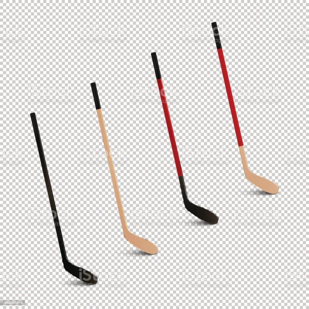 Illustration of sports realistic icon set - ice hockey sticks. Design...
