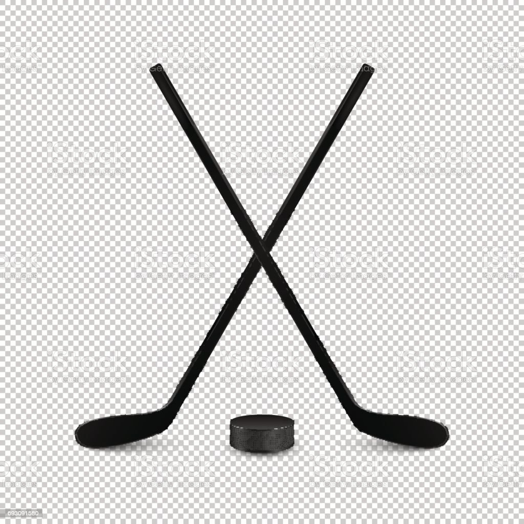 Illustration of sports set - two realistic crossed hockey sticks and...