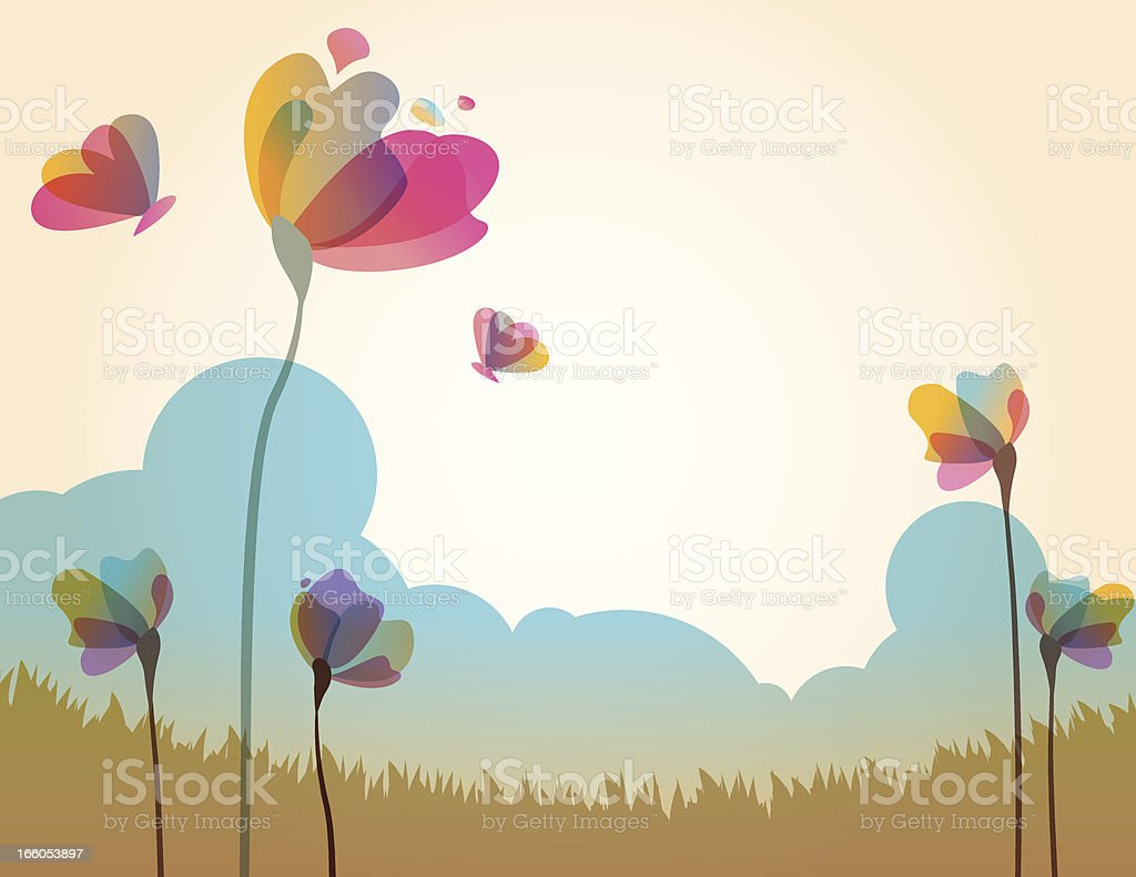 Illustration of spring grass field with flowers vector art illustration
