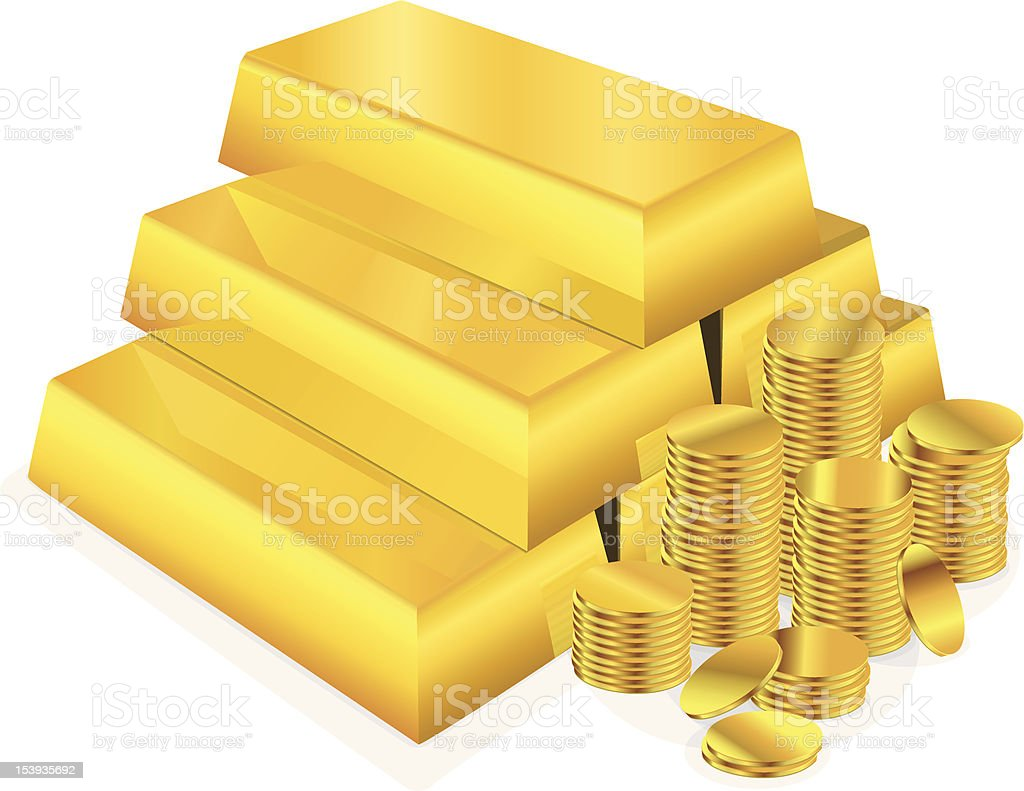 Illustration of stacked gold bars and coins vector art illustration
