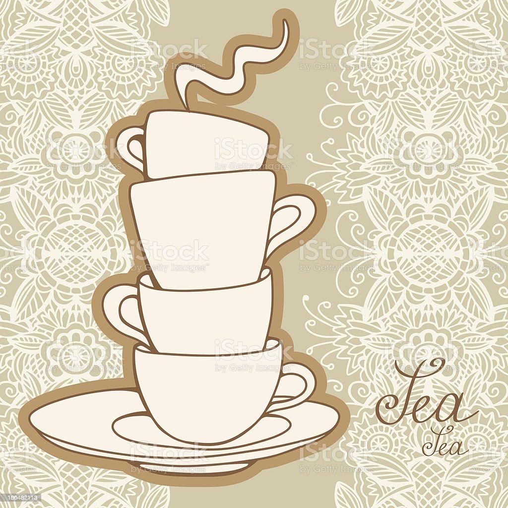 Illustration of stacked teacups with vintage background vector art illustration