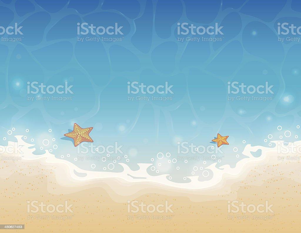Illustration of starfish in the shallow sea at the beach vector art illustration