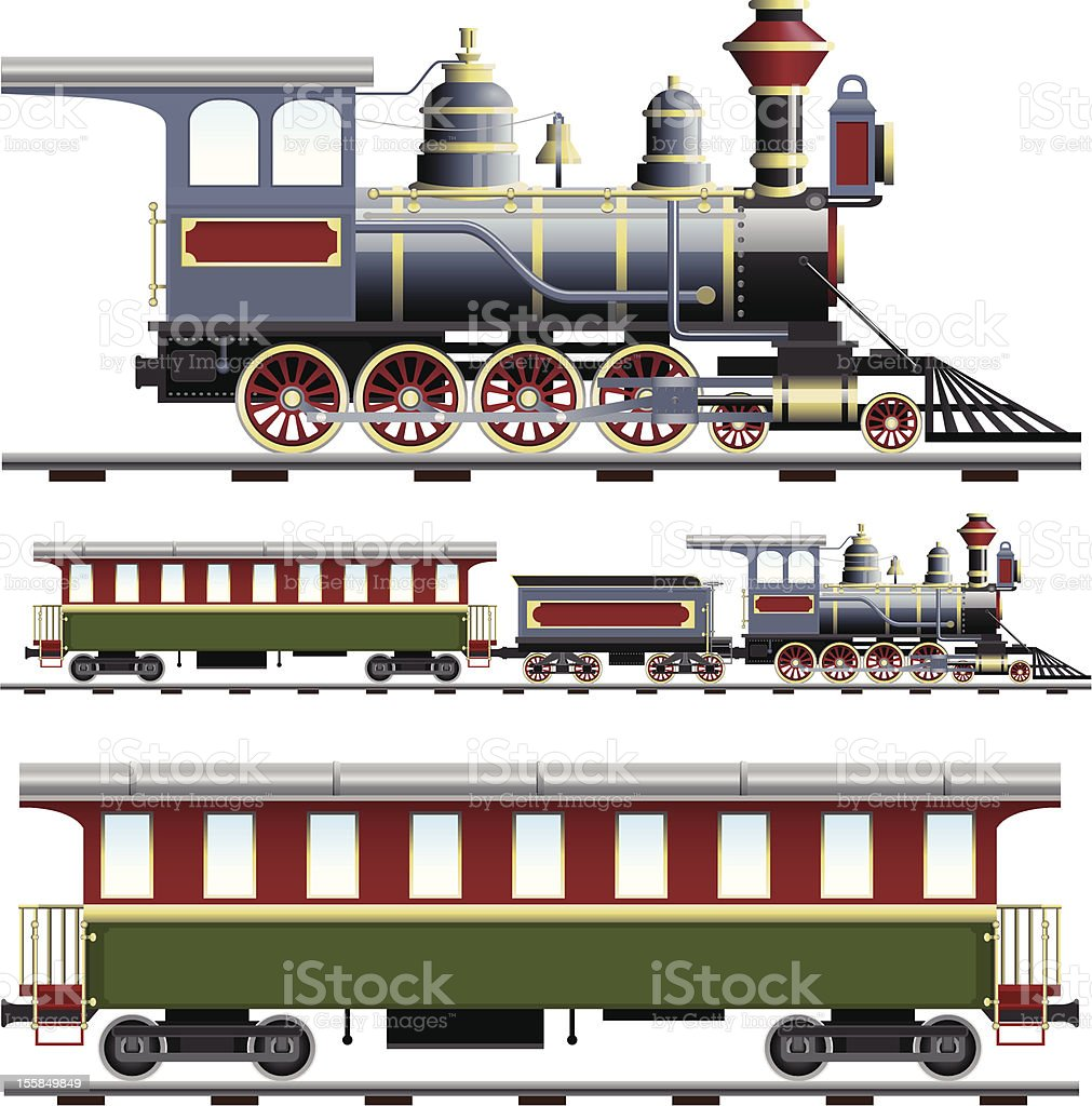 Illustration of steam train with three views royalty-free stock vector art