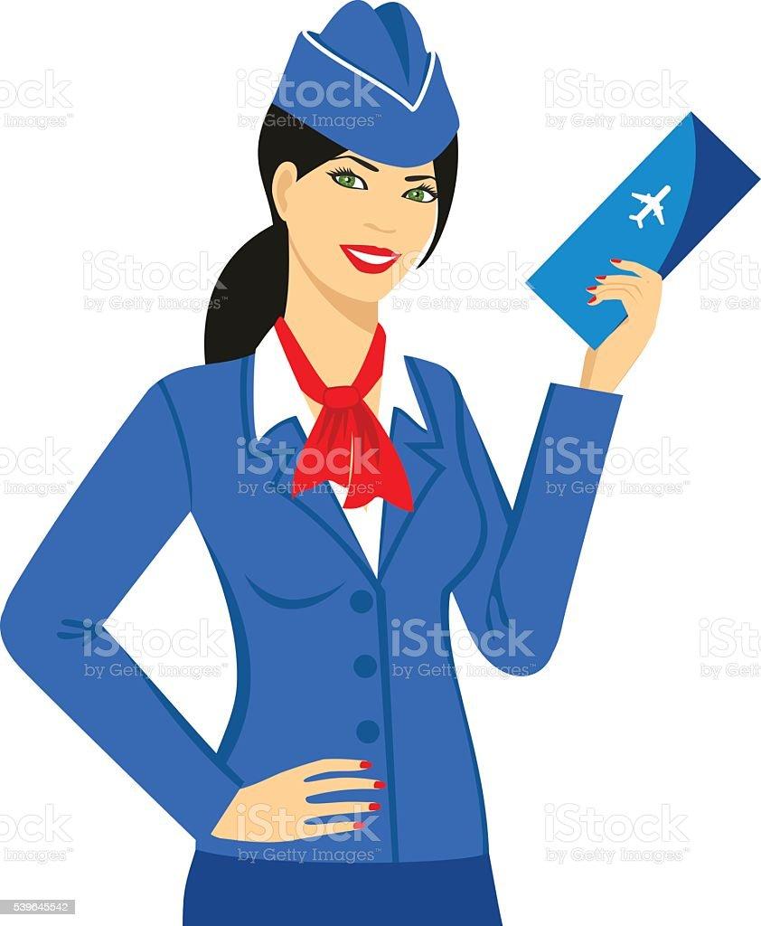Illustration of stewardess dressed in blue uniform with a ticket vector art illustration