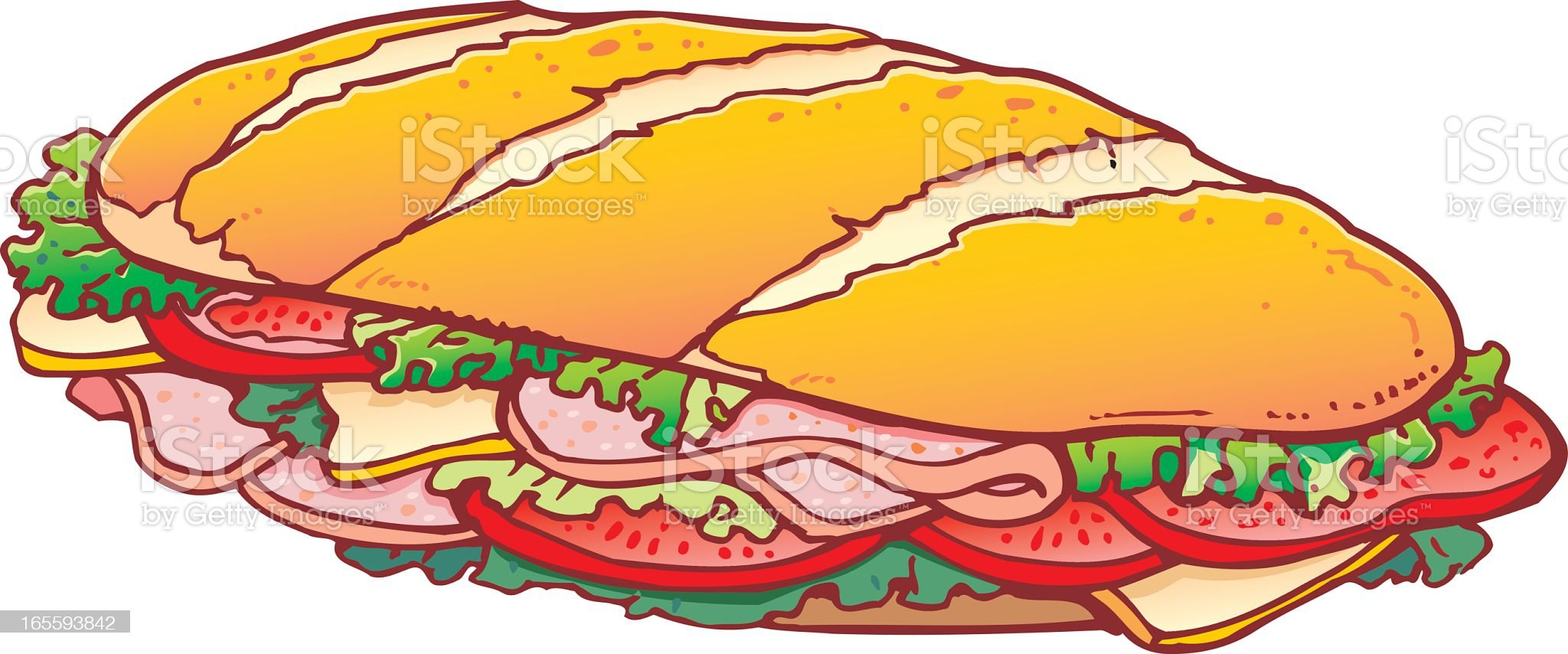 Illustration of sub sandwich with meat and lettuce royalty-free stock vector art