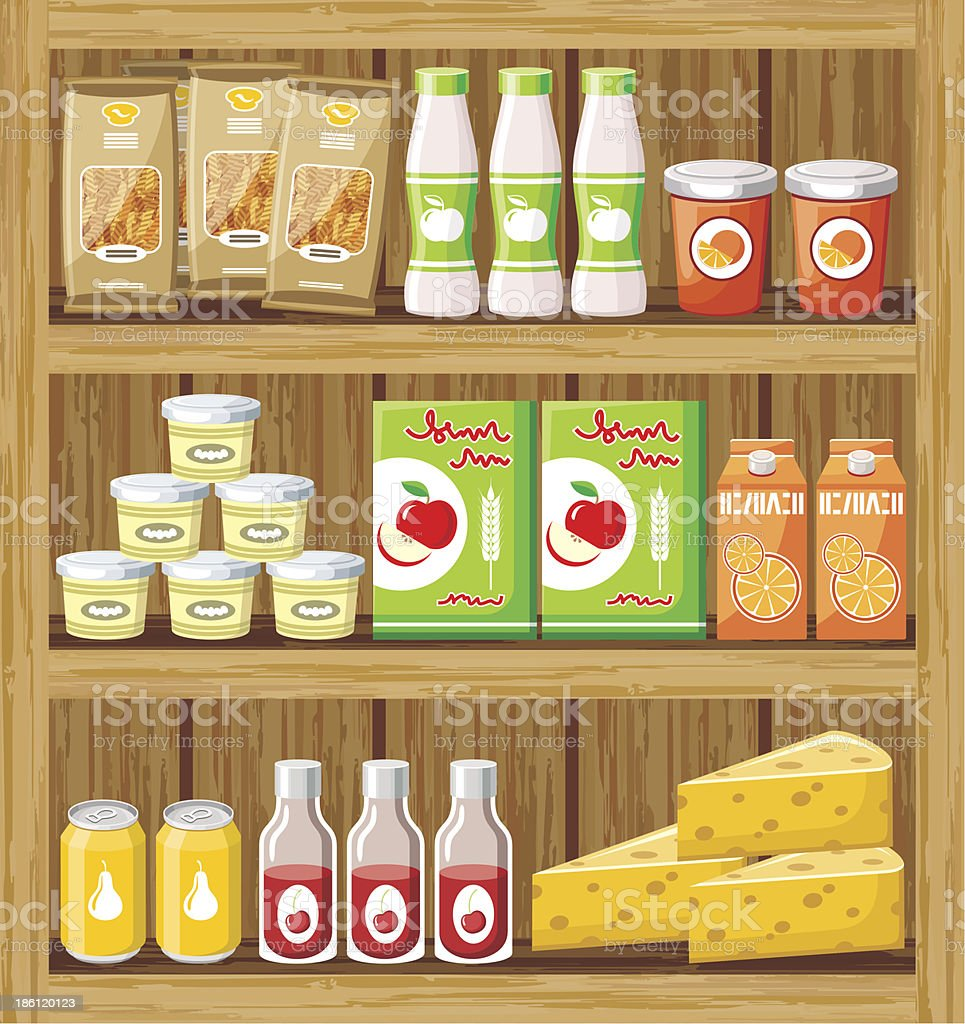 Illustration of supermarket shelves filled with food royalty-free stock vector art