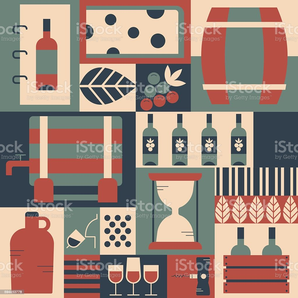 Illustration of symbols winemaker objects. Wine concept made in vector art illustration