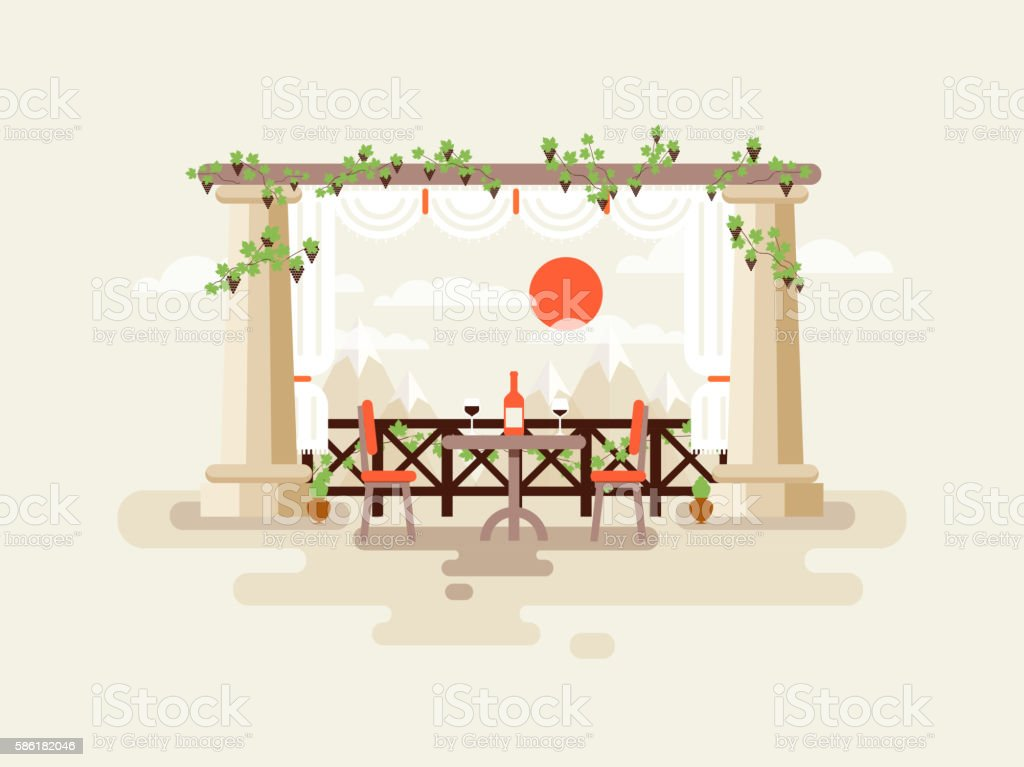 illustration of table between the columns with a bottle  wine vector art illustration
