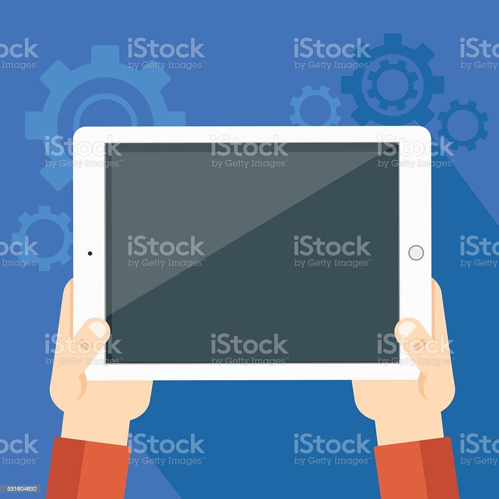 illustration of tablet pc vector art illustration