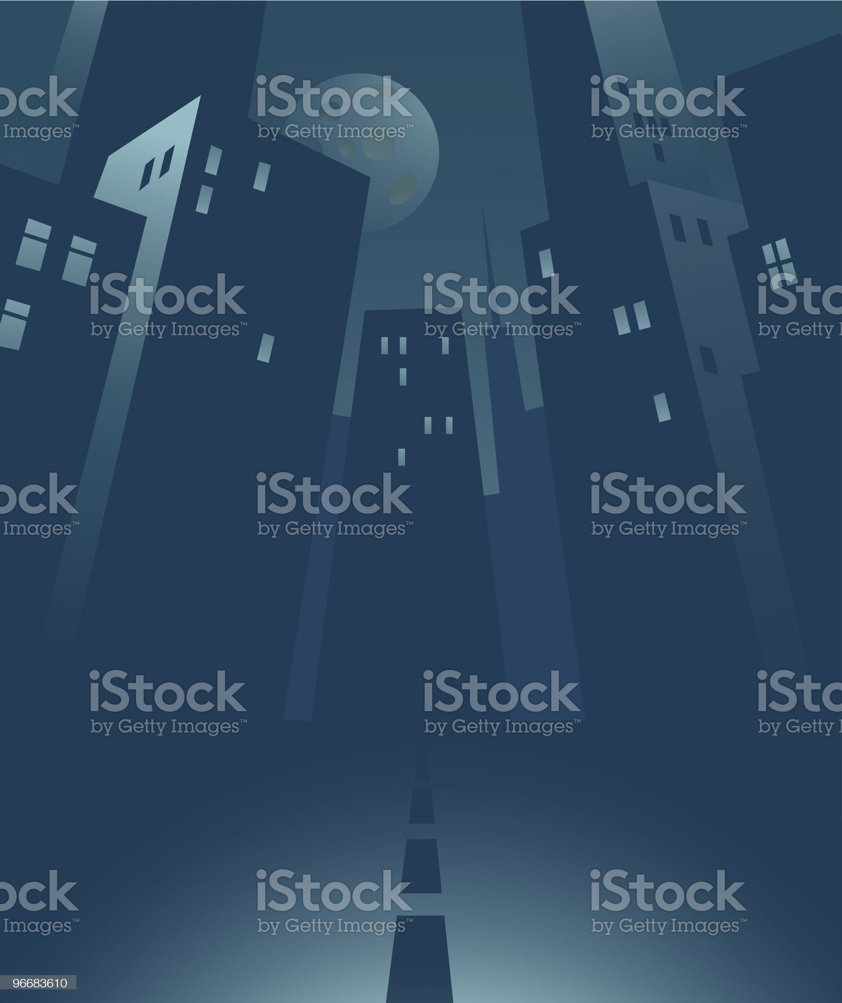 Illustration of tall buildings In a city at night royalty-free stock vector art