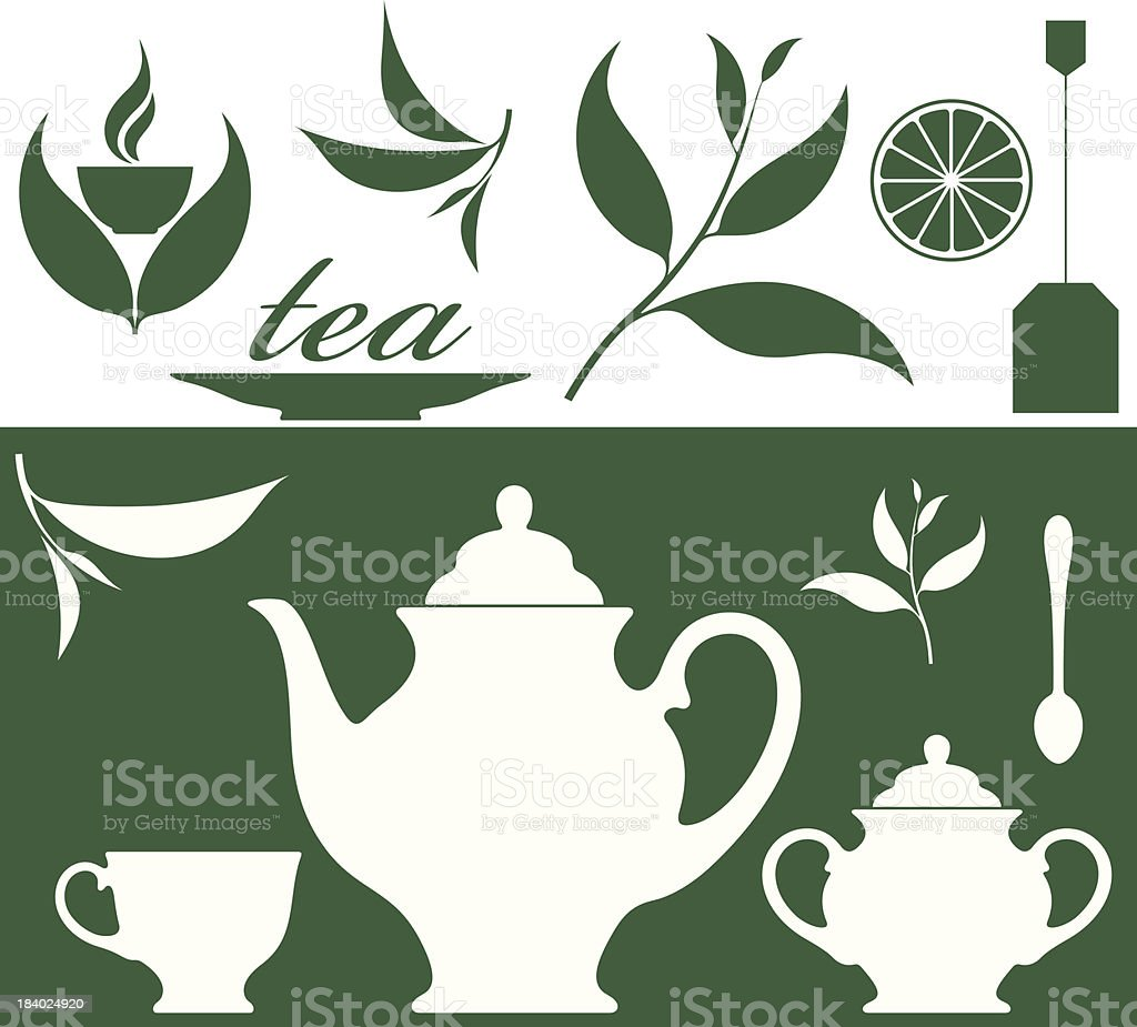 Illustration of tea leaves and a tea set in green royalty-free stock vector art
