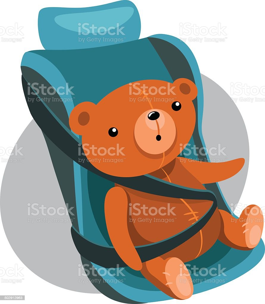 Illustration Of Teddy Bears In A Child Car Seat stock vector art ...