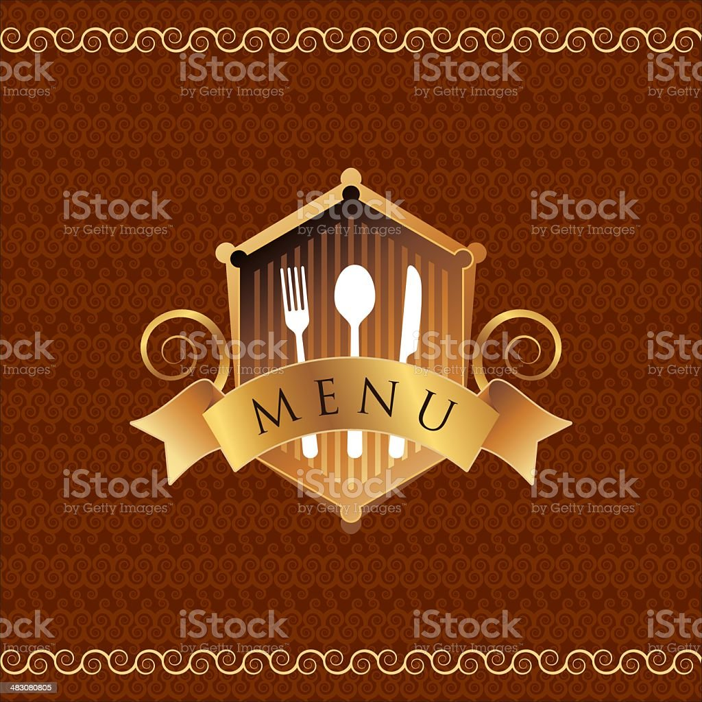 illustration of template for menu card with cutlery royalty-free stock vector art