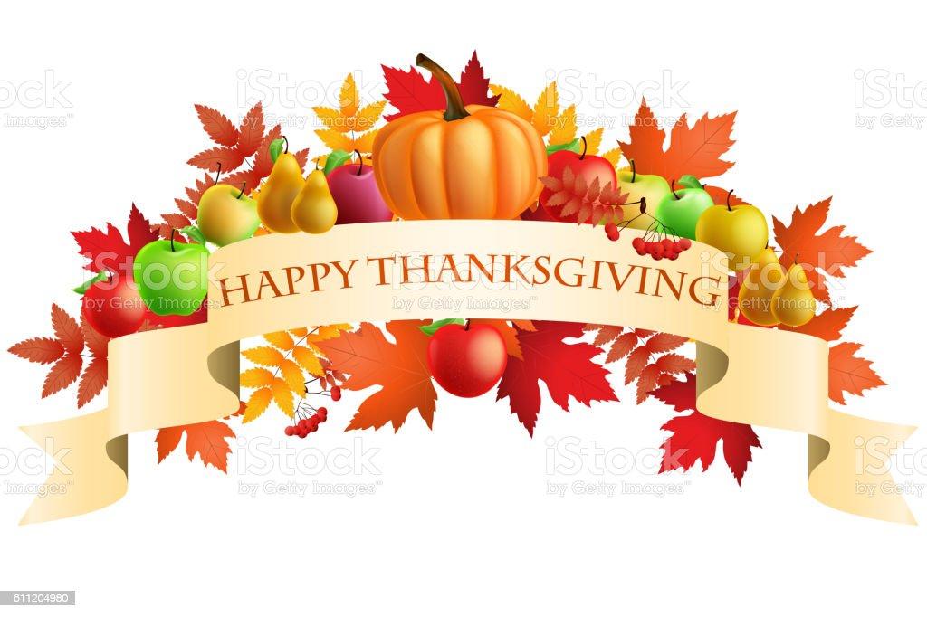 illustration of Thanksgiving celebration banner with maple leaf vector art illustration