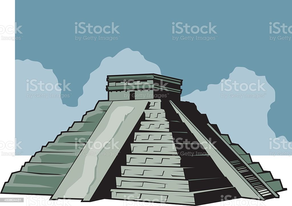 Illustration of the Aztec ruins vector art illustration