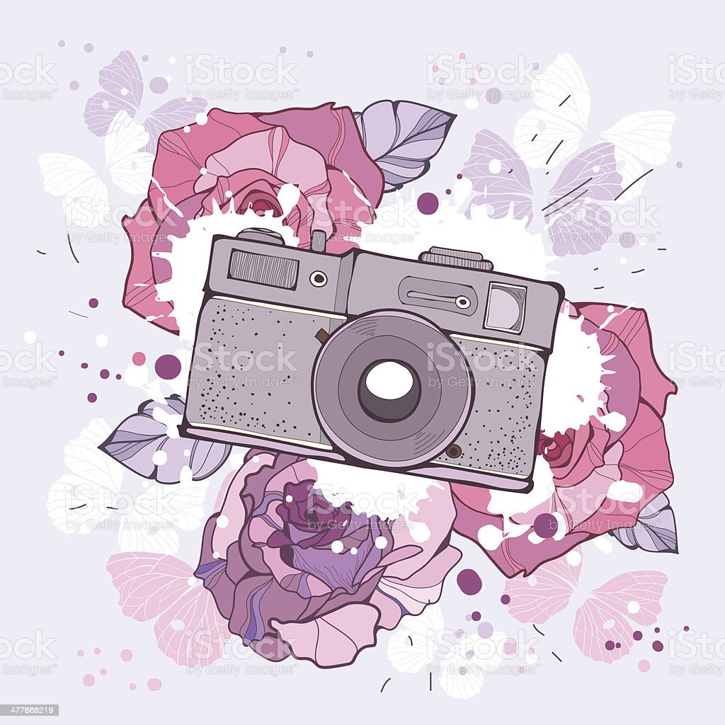 Illustration of the camera and flowers royalty-free stock vector art