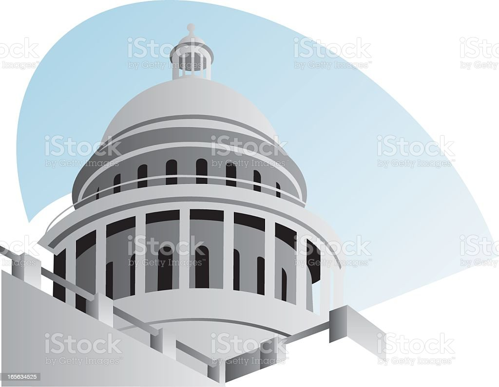 Illustration of the Capitol Dome on white background vector art illustration