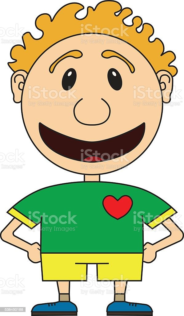 Illustration of the cheerful boy of the football player vector art illustration