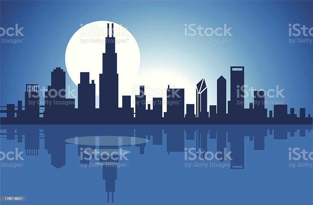 Illustration of the Chicago skyline at night over the lake vector art illustration