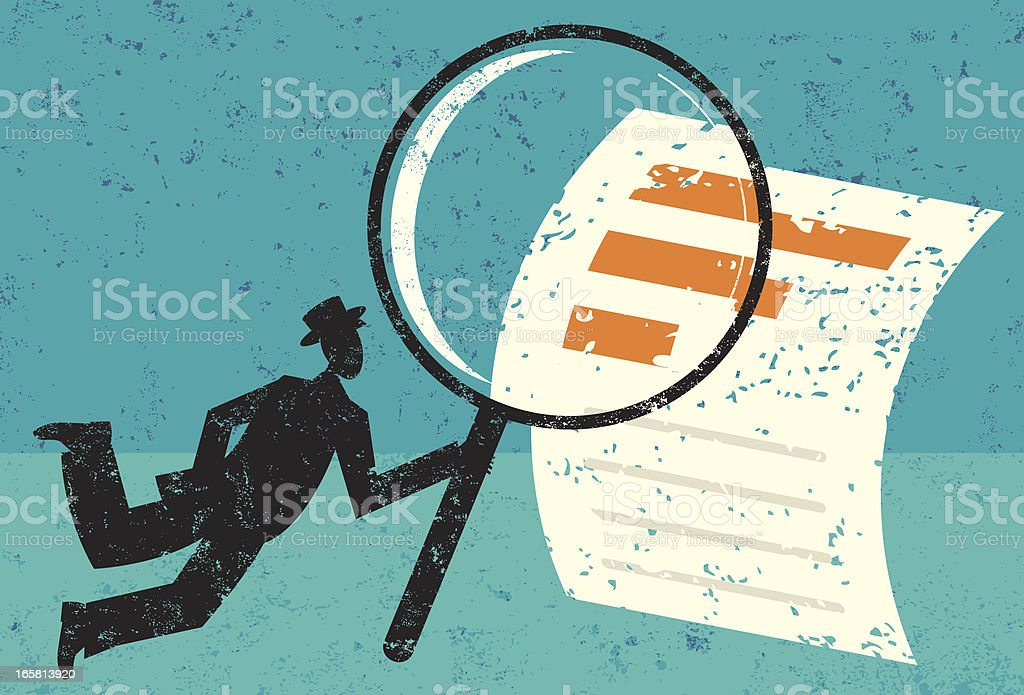 Illustration of the concept of examining financial data royalty-free stock vector art