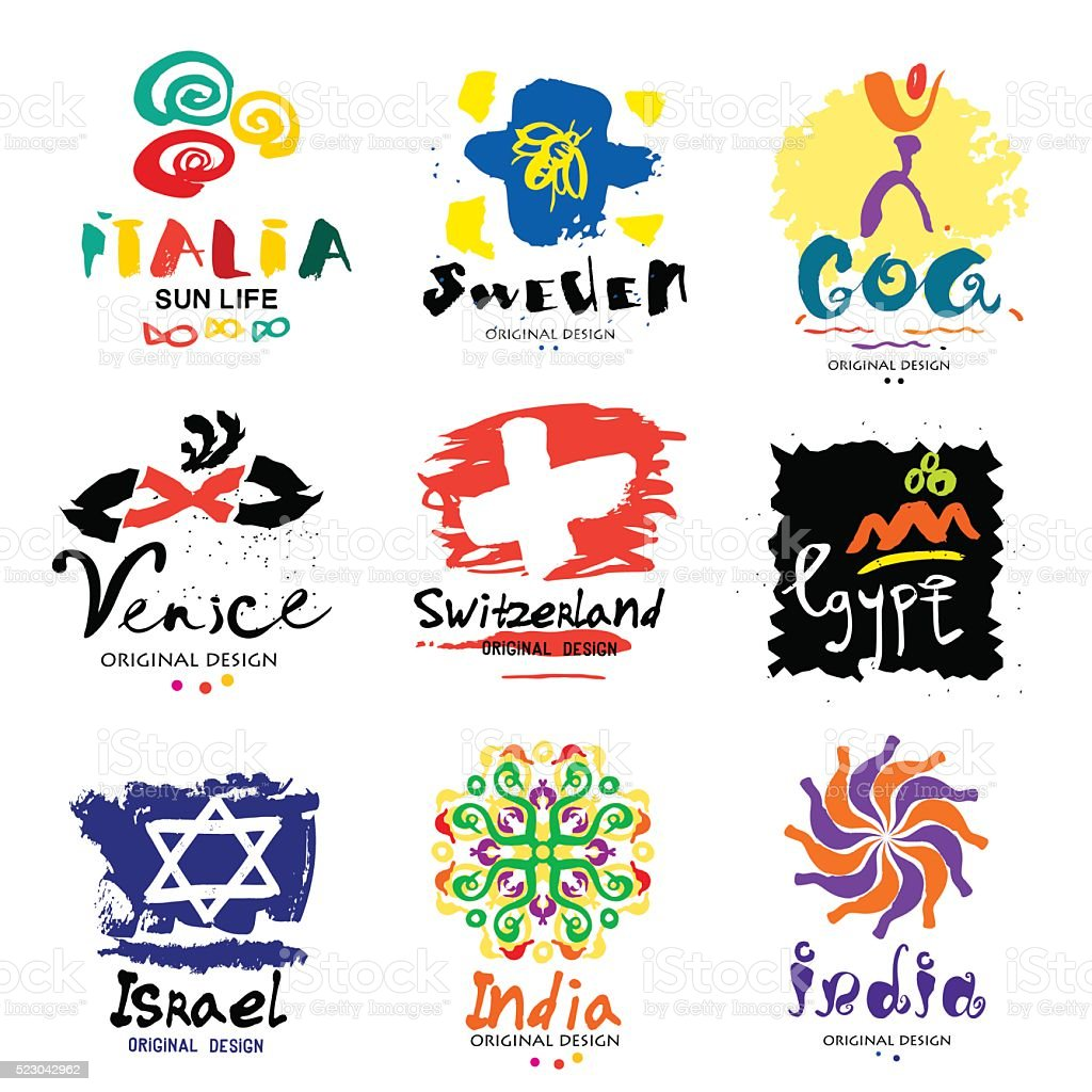 Illustration of the different countries. A trip around the world. vector art illustration