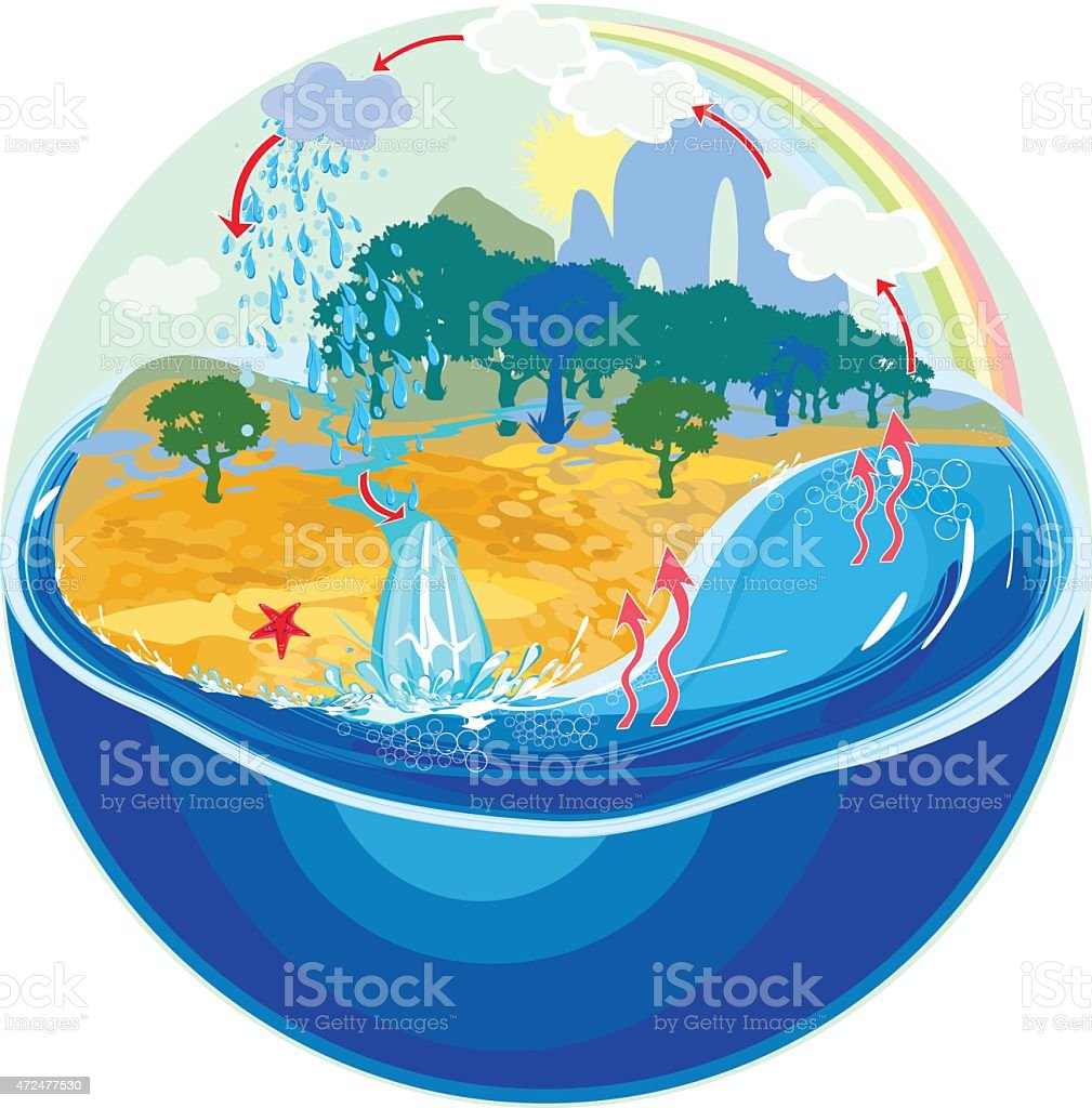 Illustration of the Earth's water life cycle vector art illustration