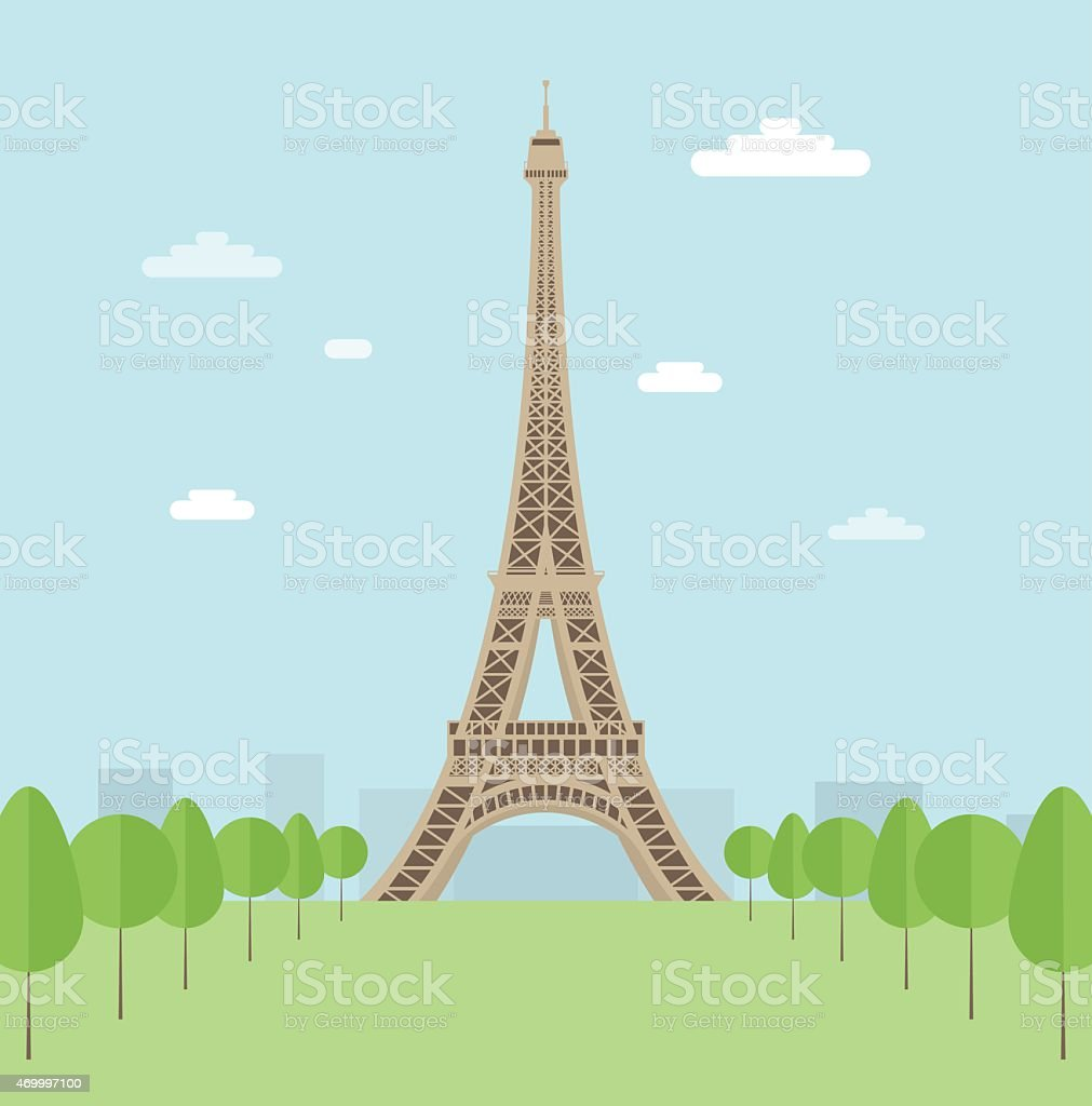 Illustration of the Eiffel Tower surrounded by trees vector art illustration