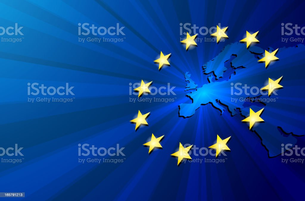 Illustration of the European stars circling the continent vector art illustration