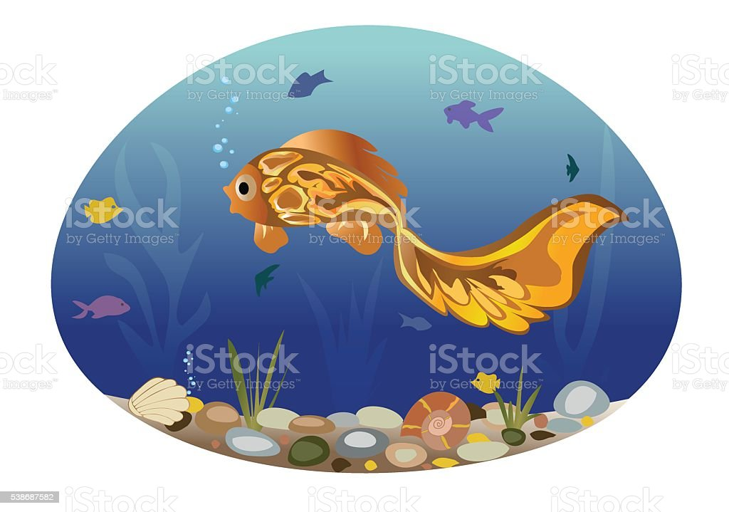 Illustration of the fishes on the background of a sea landscape. vector art illustration