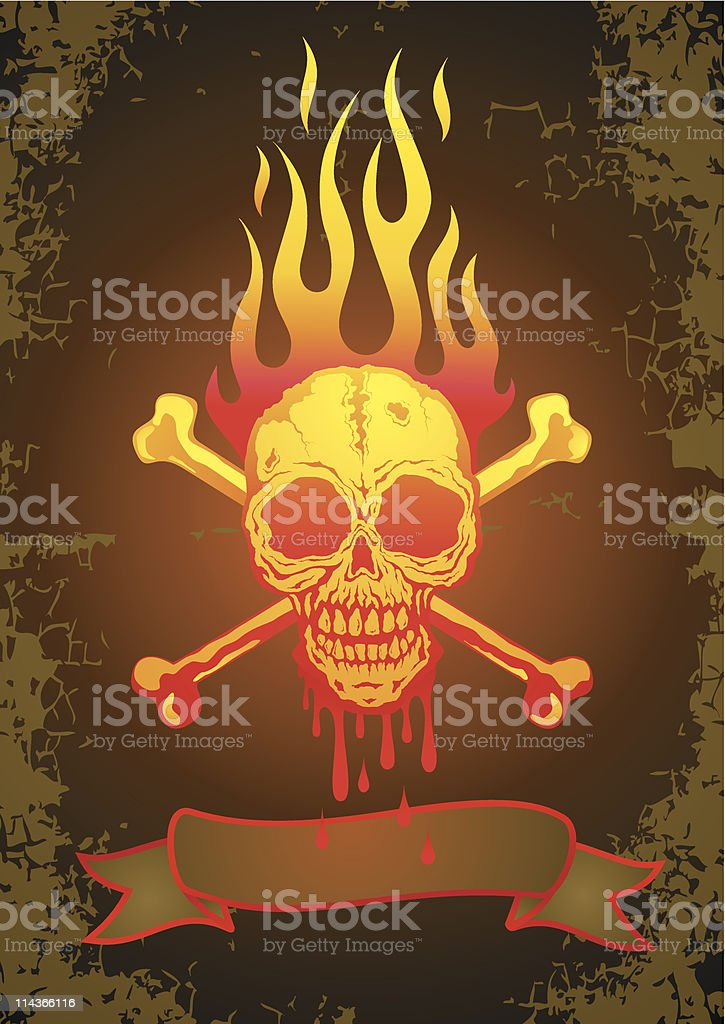 Illustration of the skull in flames royalty-free stock vector art