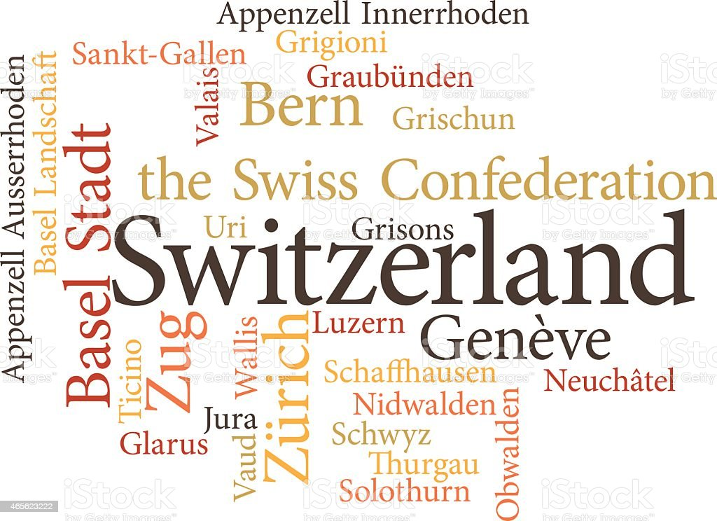 Illustration of the Swiss Cantons vector art illustration