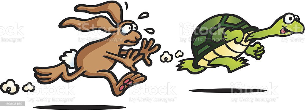 Illustration of The Tortoise and the Hare fable vector art illustration