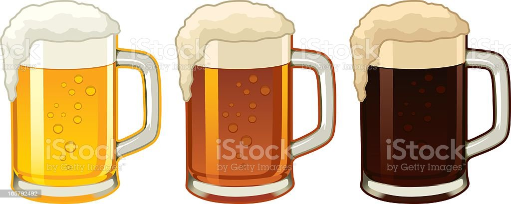 Illustration of three beer mugs containing different beers royalty-free stock vector art