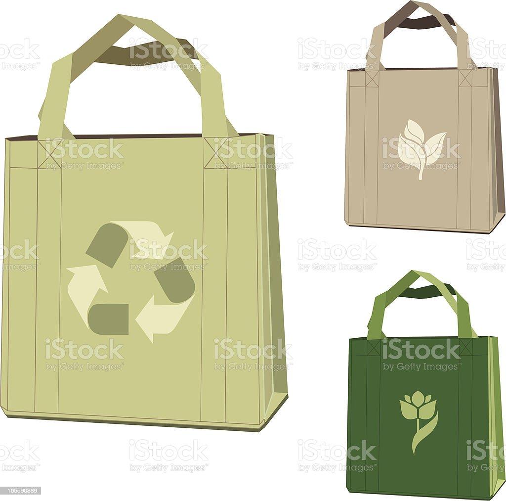 Illustration of three cloth bags vector art illustration
