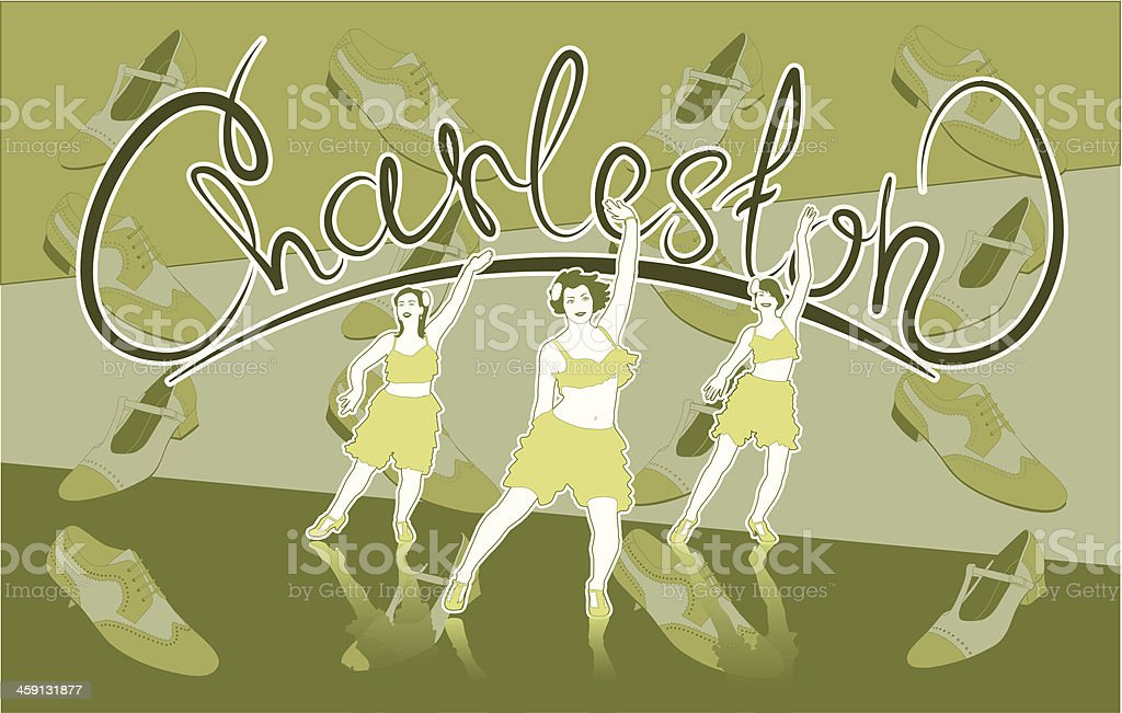 Illustration of three girls dancing Charleston royalty-free stock vector art