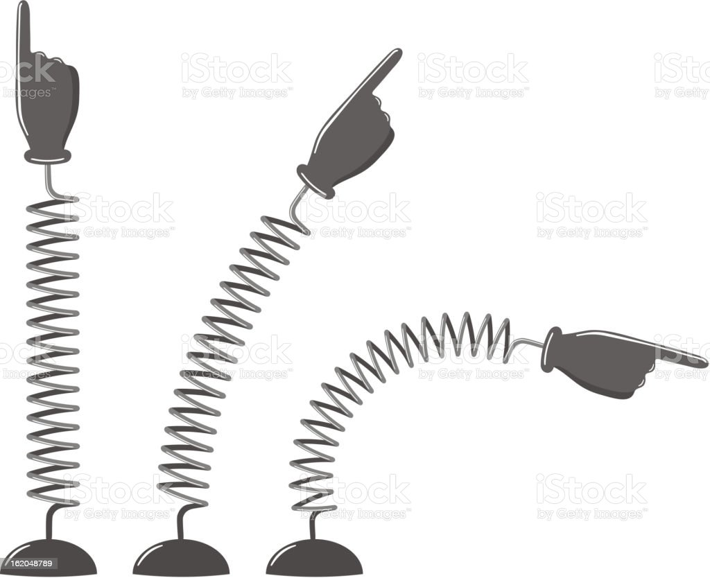 Illustration of three hands with pointing finger on springs vector art illustration