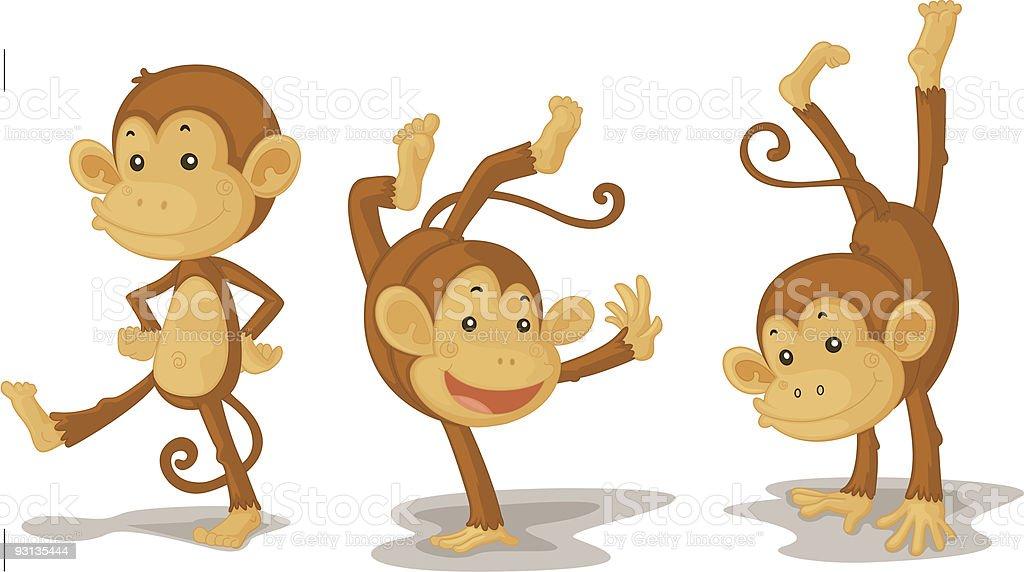 Illustration of three monkeys playing vector art illustration