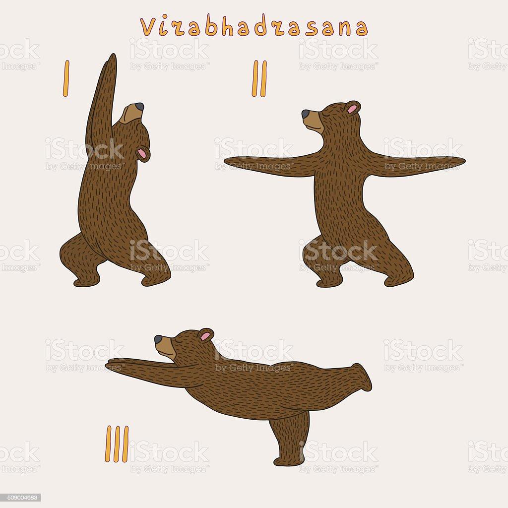 Illustration of three yoga bears vector art illustration