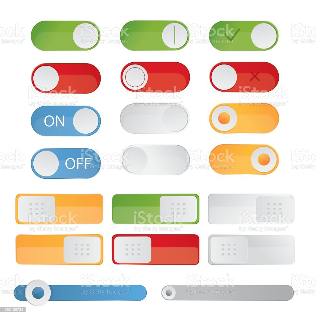 illustration of toggle switch icons. On and Off position, vector art illustration