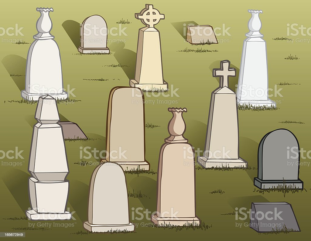 Illustration of Tomb stones in the cemetery  royalty-free stock vector art