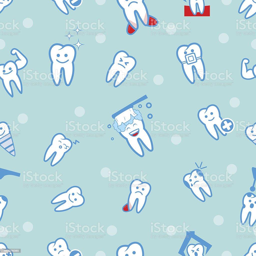 illustration of tooths on a blue background vector art illustration