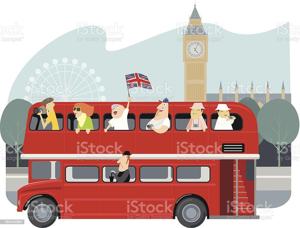 Illustration of tourists in London, sightseeing vector art illustration