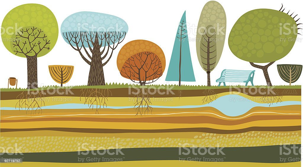 Illustration of trees in the park vector art illustration