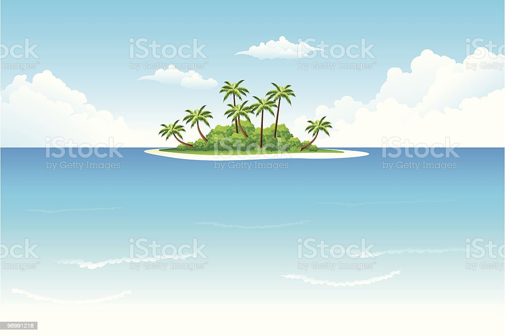 Illustration of tropical island and ocean vector art illustration
