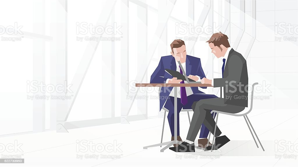Illustration Of Two Businessmen In Meeting Using Laptop vector art illustration