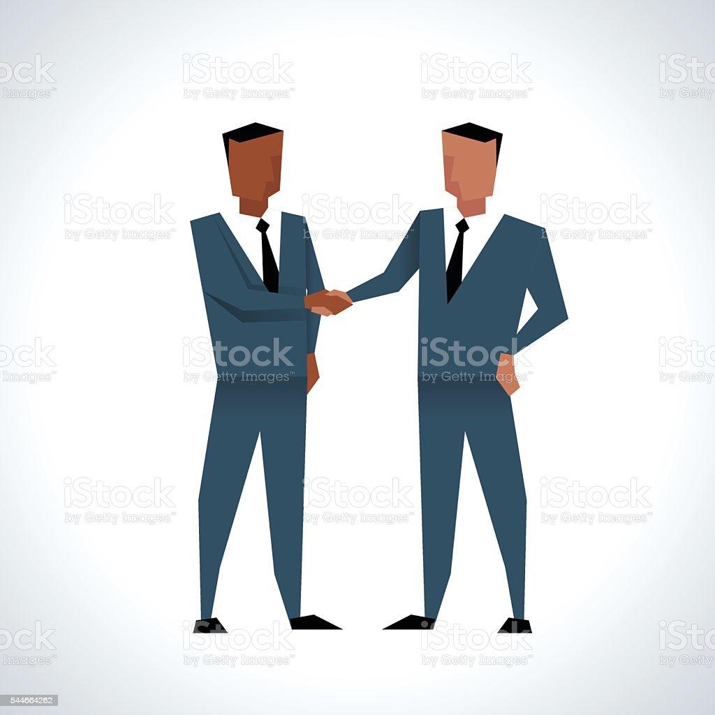 Illustration Of Two Businessmen Shaking Hands vector art illustration